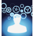 Male profile with gears and cogs - vector image