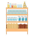 supermarket shelf colorful with foods and vector image