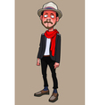 cartoon is a funny guy hipster in hat and scarf vector image
