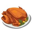 Cooked delicious chicken on the plate food vector image