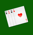 playing cards casino poker with aces combination vector image vector image