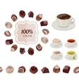 Different chocolate candies and cups of tea and vector image