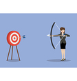 Business woman hitting the target vector image