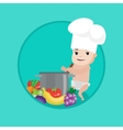 Baby in chef hat cooking healthy meal vector image