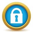 Gold lock icon vector image