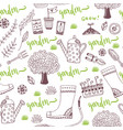 hand sketch garden pattern with seed packets vector image