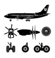 Jets constructor Black silhouettes aircraft parts vector image