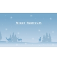 Merry Christmas deer and spruce silhouettes vector image