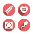 Safe sex love icons Condom in package symbols vector image