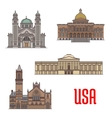 USA tourist attraction and architecture landmarks vector image