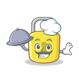 chef with food yellow lock character mascot vector image