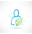 Person with plant grunge icon vector image vector image