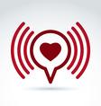 Heart over the speech bubble icon conceptual vector image