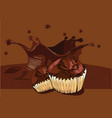 cupcakes on chocolate background vector image