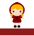 Cute retro Red riding hood isolated on white vector image