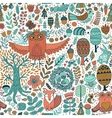 Forest and floral seamless pattern with animals vector image