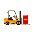 forklift truck with lifted red barrel vector image