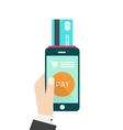Mobile payment hand with vector image