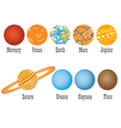 set of nine planets vector image
