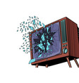 tv explodes broken screen vector image