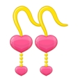 Pink earrings icon cartoon style vector image