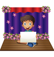 A man holding an empty signage at the stage vector image vector image