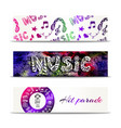 music banners template with doodle lettering and vector image