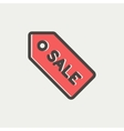 Sale tag thin line icon vector image