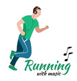 Running man with headphones vector image