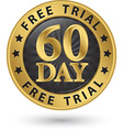 60 day free trial golden label vector image