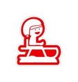 paper sticker on white background child sledding vector image