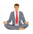 Businessman thinking during meditation cartoon vector image