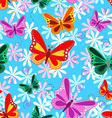 Colorful seamless butterfly pattern vector image
