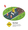 isometric of building a new road vector image