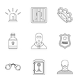 Lawlessness icons set outline style vector image
