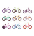 various types of bikes set colorful bicycles for vector image