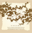 vintage poster with japanese sakura silhouette vector image
