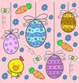 doodle of easter with egg flower design vector image