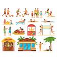 beach activities decorative icons set vector image