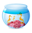 A jar with three seahorses vector image vector image