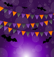 Halloween background with hanging flags vector image