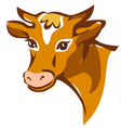 bright brown smiling cow portrait vector image vector image