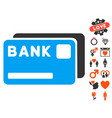 bank cards icon with love bonus vector image