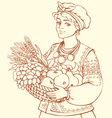 girl in folk waistcoat holding tray with fruits vector image