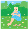 girl on a grass vector image