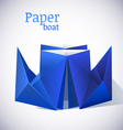 Origami paper blue boat vector image
