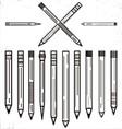 Outline Pencils Clip Art Set vector image