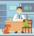 veterinary office with doctor and pets vector image