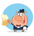 Waiter Pig Waiter Holding Up A Mug Of Frothy Beer vector image