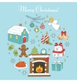 Christmas and New Year holiday icons set vector image